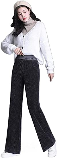 Tootess Women's Warm Bootcut Corduroy Relaxed-Fit High-waisted Pockets Pants