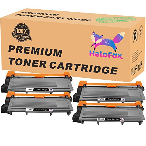 HaloFox High Yield Toner Replacements Compatible For Brother TN660 TN-660 TN630 HL-L2340DW HL-L2300D HL-L2380DW MFC-L2700DW L2740DW DCP-L2540DW L2520DW HL-L2320D MFC-L2720DW L2740DW Printers,4 Packs