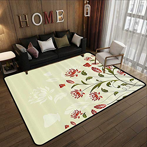 All Weather Floor mats,Abstract,Floral Flowers with Ivy Swirl Leaves and Light Green Backdrop Image,White Red and Olive Green 78.7
