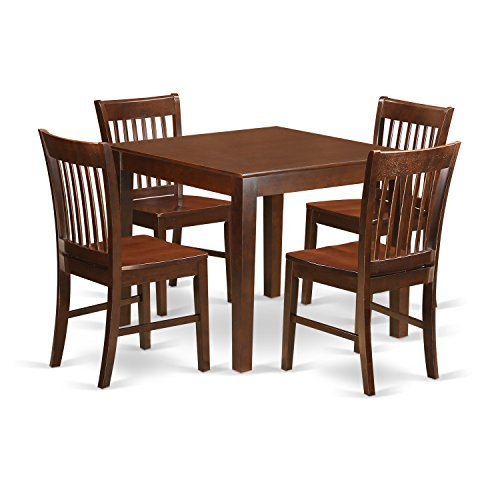Mahogany Dining Room - East West Furniture OXNO5-MAH-W 5 PC Kitchen Table Set with One Oxford Table & 4 Dining Room Chairs in Mahogany Finish