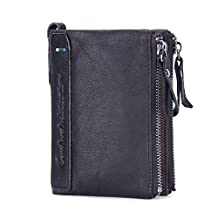 Contacts Men's Genuine Leather Bifold Wallet Double Zipper Pocket Wallet Purse