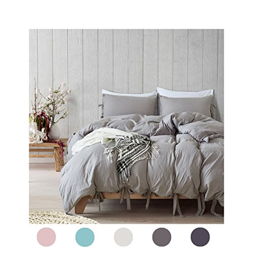 Moreover 2 Pieces Light Grey Bedding Grey Duvet Cover Set Bowknot Design Grey Bedding Set Soft Microfiber Bedding Twin One Bowtie Duvet Cover One Bowknot Pillowcase (Twin, Light Grey)
