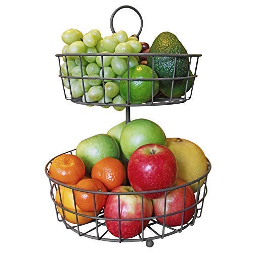 2 Tier Fruit Basket - French Country Wire Basket by Regal Trunk & Co. | Two Tier Fruit Basket Stand for Storing & Organizing Vegetables, Eggs, and More | Fruit Basket for Counter or Hanging (2 Tier)