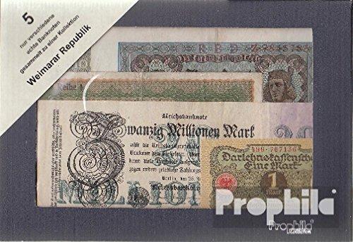 alemán Imperio 5 diferentes billetes de Weimar república (billetes para los coleccionistas) Prophila Collection