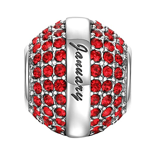 Silver Birthstone Charm (SOUFEEL January Birthstone Charm Dark Red Swarovski Crystal 925 Sterling Silver Charms Fit European Bracelet Valentine's Day Gift)