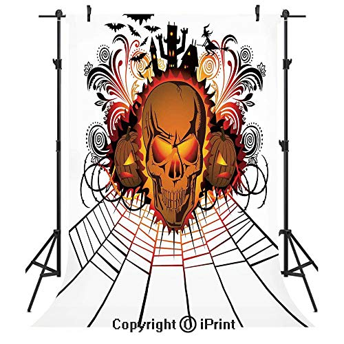 Halloween Decorations Photography Backdrops,Angry Skull Face on Bonfire Spirits of Other World Concept Bats Spider Web,Birthday Party Seamless Photo Studio Booth Background Banner 3x5ft,Multi -