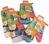 Summer Kitchen Linens Bundle - Tiki Bar and Tropical Hibiscus - 4 Items: 2 Dish Towels and 2 Pot Holders (Tiki Bar)