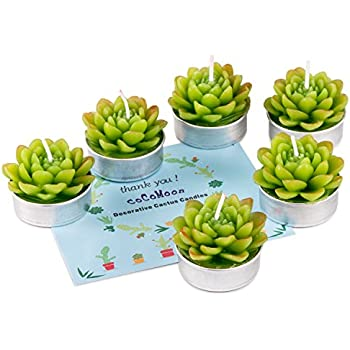 Artificial Succulents Decorative Candles,COCOMOON Unscented Paraffin Wax Candles 6 Pcs (Green Flower)