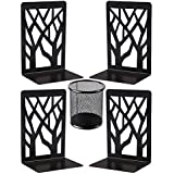Metal Bookends, Decorative Book Ends, Black Bookends Supports Non Skid Book Stoppers Heavy Duty Book Shelf Holder 2 Pairs, Book Stand for Shelves Bookshelf Office School Library with 1 Pencile Holder