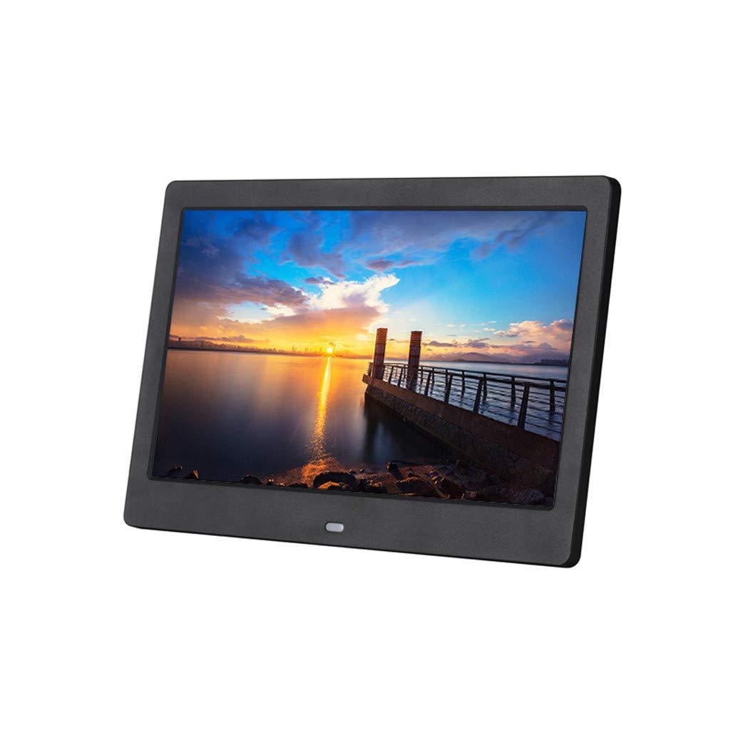 Lljin Digital Photo Frame 10 inch HD TFT LCD Slim Alarm Clock MP4 with Remote (Black)