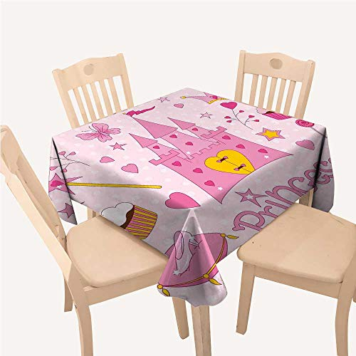 WilliamsDecor Kids Kitchen Tablecloth Little Princess Tiara Slippers Fairy Castle Butterfly Heart Lollipop Wand Cupcake Girls Party Print Square Tablecloth W70 xL70 -