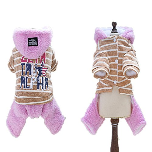 (Puppy Dog Pet Clothes, Ji Speed Winter Warm Faux Lamb Fur Hoodie Jumpsuit Stripes& Letters Print Coat Outfit Puppies Sweatshirt Apparel, Grey/ Pink, S-XXL (Pink, XXL---Chest 20.47