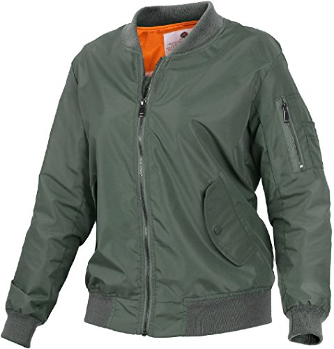 Womens Lightweight Military Air Force Style MA-1 Flight Bomber ()