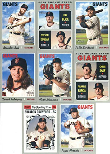 2019 Topps Heritage Baseball San Francisco Giants Team Set of 15 Cards: Chris Stratton(#13), Evan Longoria(#42), Gorkys Hernandez(#58), Tony Watson(#77), Joe Panik(#107), Alen Hanson(#135), Will Smith(#176), Mark Melancon(#210), Brandon Belt(#250), Steven Duggar/Ray Black(#267), Pablo Sandoval(#276), Dereck Rodriguez(#298), Reyes Moronta(#337), Chris Shaw/Aramis Garcia(#349), Brandon Crawford(#364)