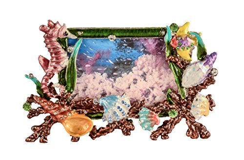 Ciel Collectables Mini Sea Life Picture Frame with Hand Set Swarovski Crystal, Hand Painted Colorful Enamel Over Solid Pewter Base, Back Made with Stylish Metal, Holds 3 x 2 Inch Pictures