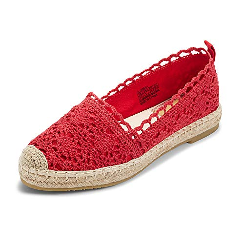 Espadrille Red Canvas - Espadrille Sneakers for Women: Hollow Canvas Casual Flats Classic Slip-On Comfortable Shoes (9 B(M) US (25.1CM), Red)