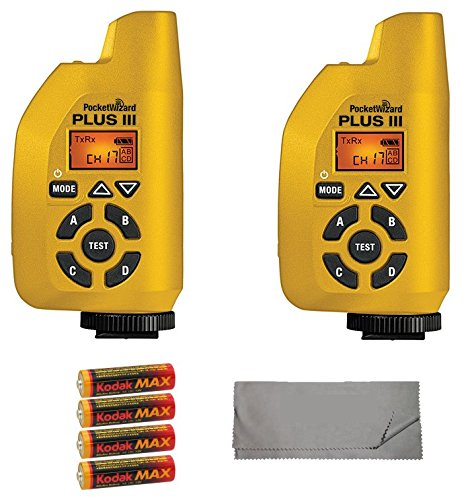 Two PocketWizard Plus III Transceivers (Yellow) Bundle with 4x AA Batteries and Cleaning Cloth by PocketWizard