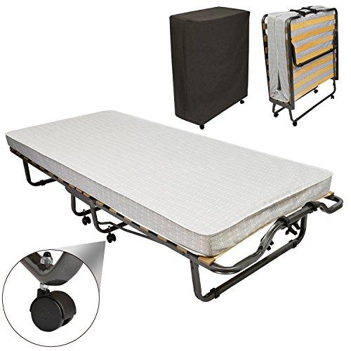 Gästebett klappbar Monaco 90x200 cm stabiler Metall-Rahmen - Klapp-Bett inkl. Matratze und Schutzhülle