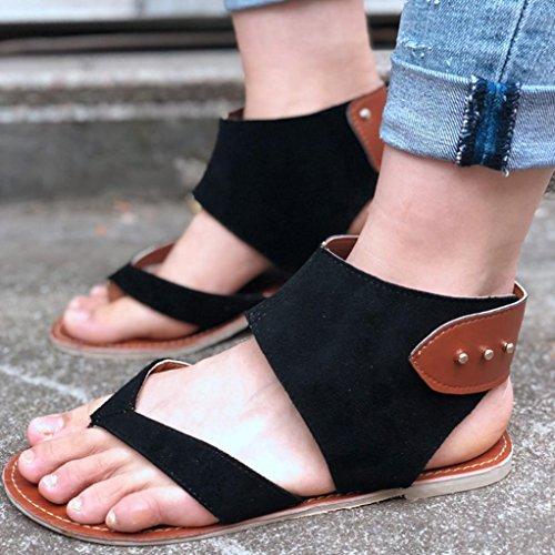 Estilo Moda Roma Casual Sandalias Casa De Por Winwintom Verano Sandalia Zapatillas Y Chanclas Estar Negro Zapatos 2018 Pisos Mujer aF7Zq5