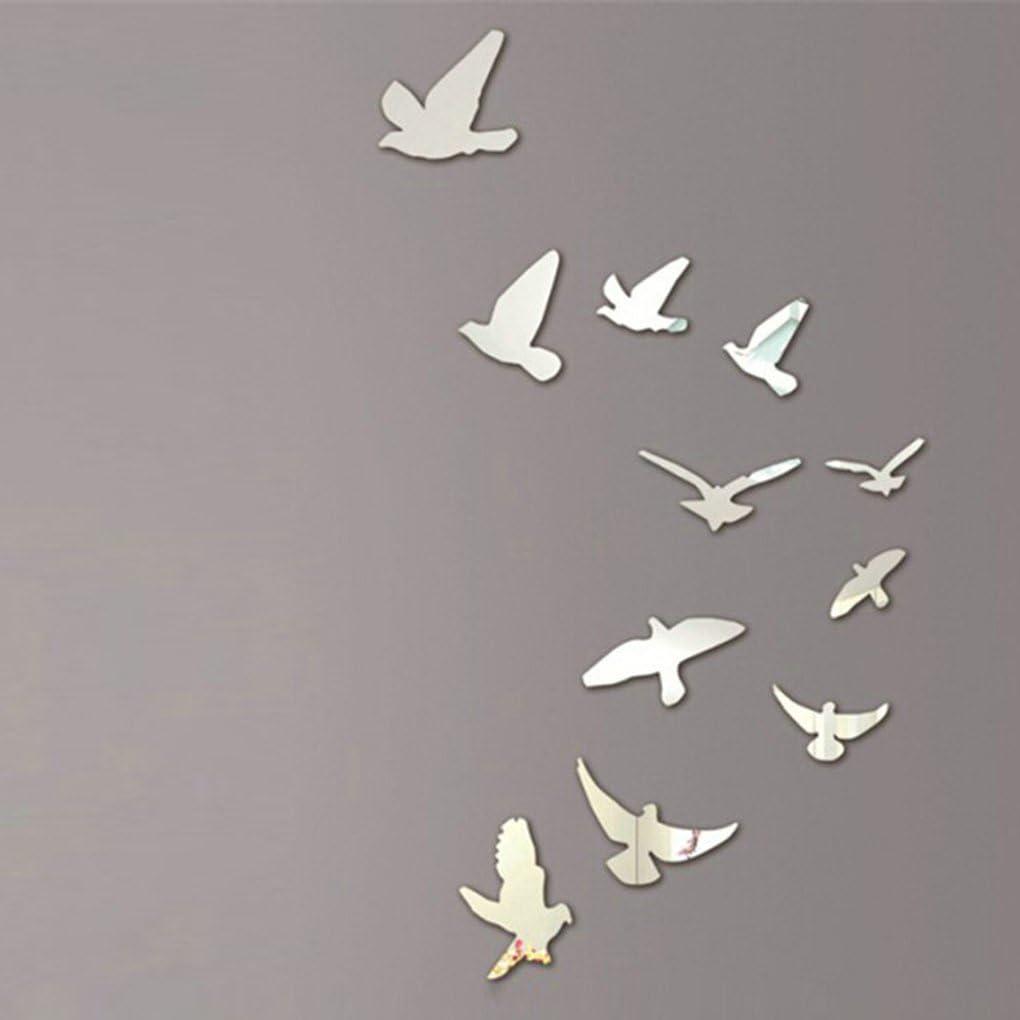 Topker 11pcs acrílico pájaros pared espejo etiquetas adhesivas Mural desmontable decoración casera moderna
