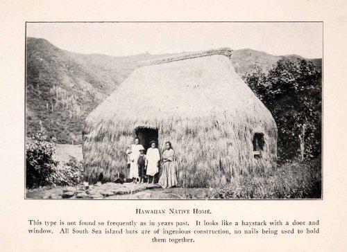1926 Halftone Print Hawaii Native Home Hay South Sea Grass Hut Island Field - Original Halftone (South Seas Hut)