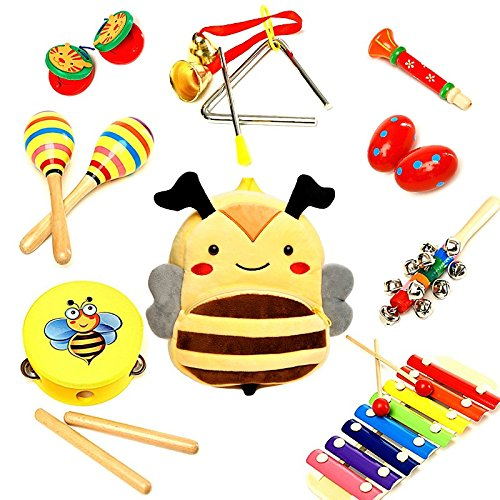 Musical Toys - Musical Instrument - Music Set - Baby Musical Instruments - Music Toys - Musical Toys for Girls & Boys - Musical Play Set – Premium Gift Musical Set 17Pcs with Cute Carrying Bee Bag Sabuzza Toys