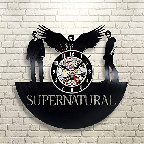 Wood Crafty Shop Supernatural Serial Winchester Design Vinyl Record Wall Clock Gift for Him and Her Unique Wall Decor The Best Gift Idea for Any Event Birthday Gift, Wedding Gift (Clock Wall Winchester)
