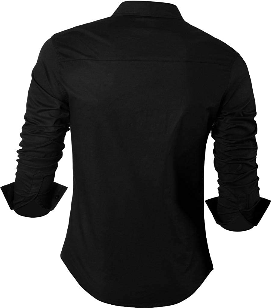 Sportrendy Hommes Chemises Casual Mode Design Slim Fit Dress Shirt JZS046 Jzs046_black