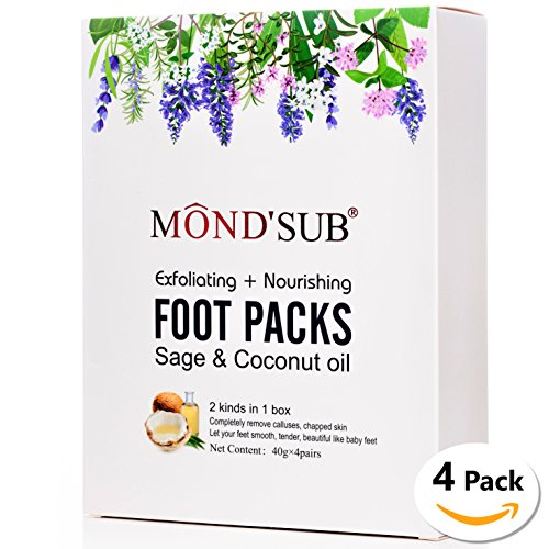 Foot Peeling Mask, Natural Feet Peel Off booties, 2 Exfoliating Masks & 2 Nourishing Masks, Callus & Dead Skin Remover, Get Baby Soft Skin in 1-2 Weeks, 4 Pack Gift, Sage & Coconut oil.