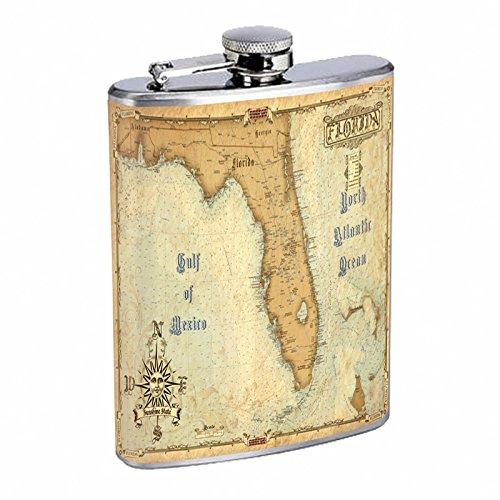 ステンレススチール8オンスヒップシルバーフラスコレトロMiami Florida Keys s1 USA orangesトロピカル   B014ON6YJY