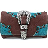 Justin West Rhinestone Buckle Solid Leather Wristlet Trifold Wallet Attachable Long Strap (Brown Turquoise)