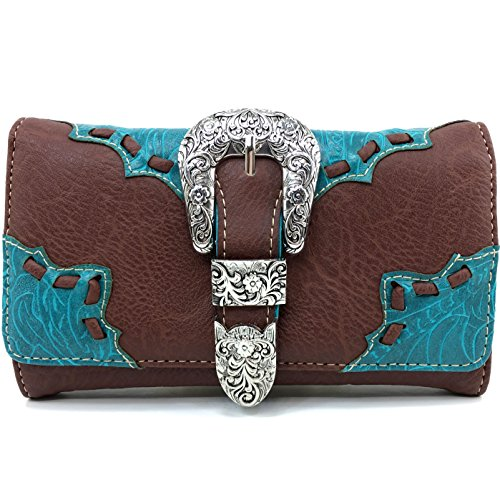 Justin West Rhinestone Buckle Solid Leather Wristlet Trifold Wallet Attachable Long Strap (Brown Turquoise) by Justin West
