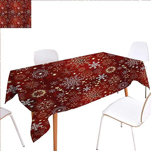 familytaste Winter Patterned Tablecloth Old Fashioned Christmas Mix with Hearts and Swirls Vintage Festive Composition Dust-Proof Oblong Tablecloth 60