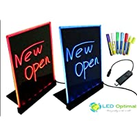 LED Optimal LED Writing Board with Remote Control (A Complete Set-6 Fluorescent Marker Pens Included) (Mini 12x9)