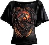 boat furnace - Spiral Womens - Dragon Furnace - Boat Neck Bat Sleeve Top Black - S