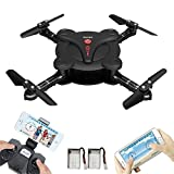 iphone remote helicopter - LAMASTON Foldable Mini Drone With Camera, 2.4G Remote Control Helicopter FPV Drones For Kids and Adult With App Control,Headless Mode, Altitude Hold and Gravity Sensor (Black)