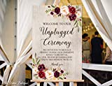 Cheap Wood Plaque Unplugged Ceremony Sign Unplugged Wedding Sign Rustic Unplugged Sign 18″ x 24″