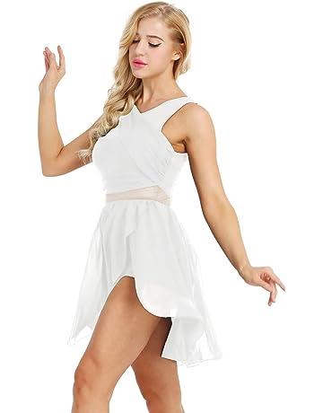 1c26c3ecccc0 Freebily Women Ballet Dance Costume Leotard Lyrical Dress Illusion V-Neck  Chiffon Flowy High-