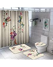 Shower curtain 4 pieces, bathtub curtain, base cover and 2 pedals , 2725614003183