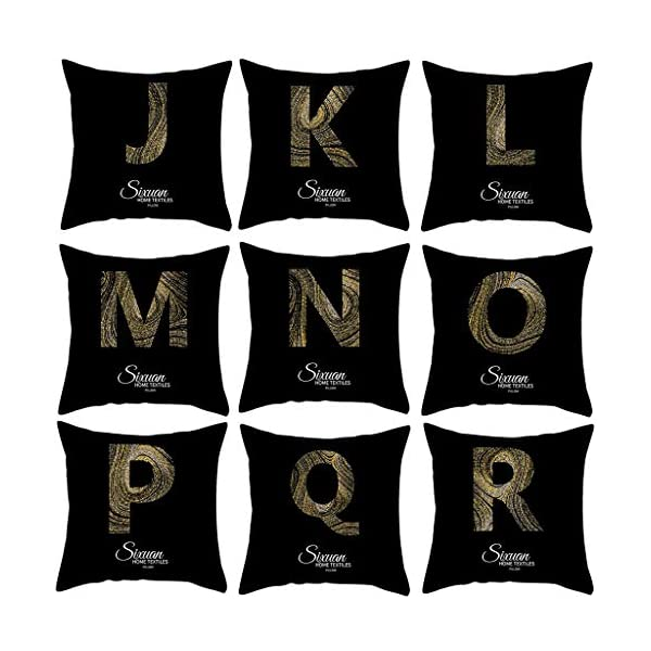 Fodera per Cuscini Quadrata Semplice Nero Federa per Divano Moda Lettera D'Oro Cuscini per Sedie da Giardino Federa… 1 spesavip