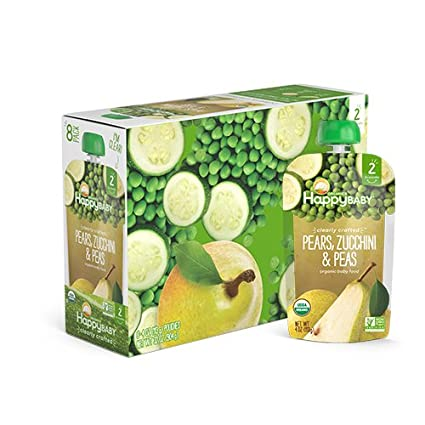 Happy Baby Clearly Crafted Organic Baby Food Stage 2, Pears Zucchini & Peas, 4 Ounce, 8 Count (Pack of 2)