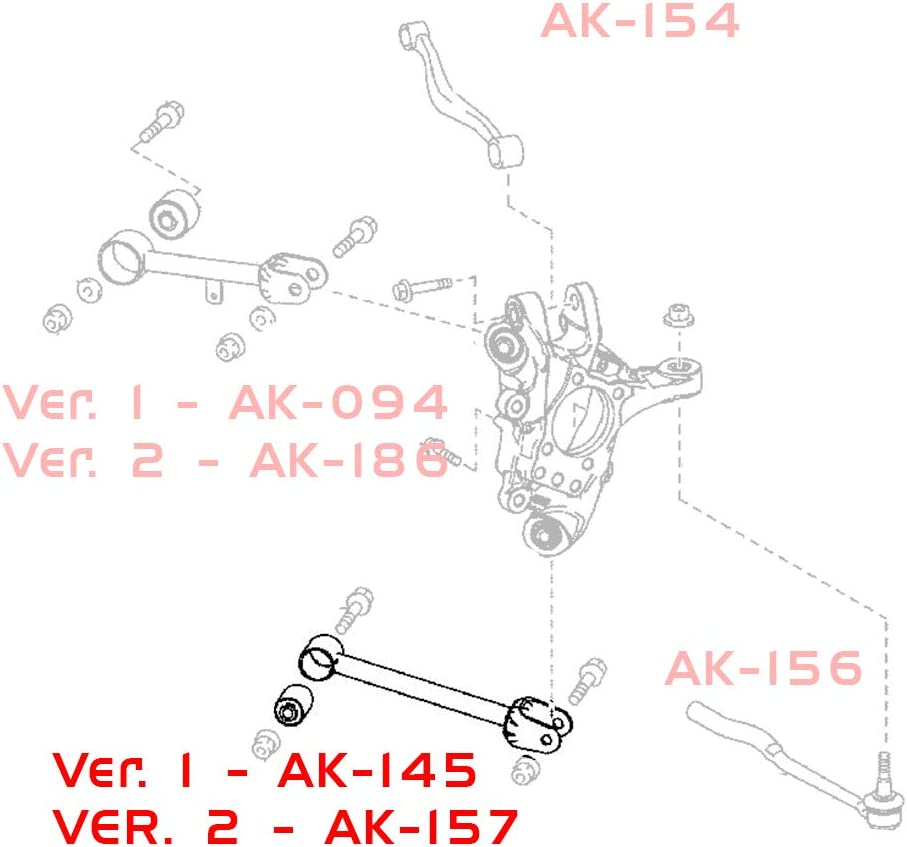 2014-19 compatible with Lexus IS200t // IS250 // IS300 // IS350 XE30 Godspeed AK-156-A Adjustable Toe Rear Control Arms Set of 2