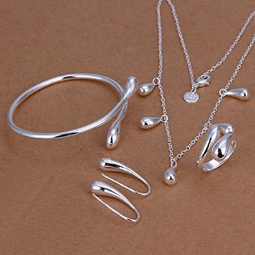 MANDI HOME Fashion 925 Silver Plated Jewelry Set Big Hand Chain Bracelet Necklace Ring Stud Earings Eardrop Water Drops