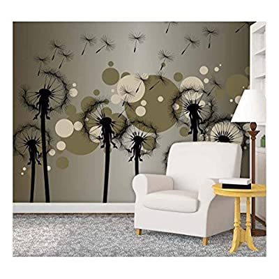Fun Cute Black Dandelions on a Brown and Silver Gradient Bokeh Neutral Background - Wall Mural, Removable Sticker, Home Decor - 100x144 inches