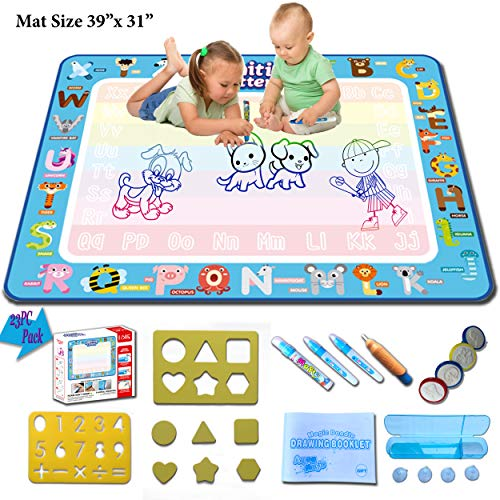 Aquadoodle Mat, Color Doodle Mat with Magic Water Drawing Pen, Educational Toys, Gift for Boys, Girls, Toddlers Age 2 and Over. Fine Motor Skills, Learn Drawing, Writing with Magic Water Doodle Mat ()