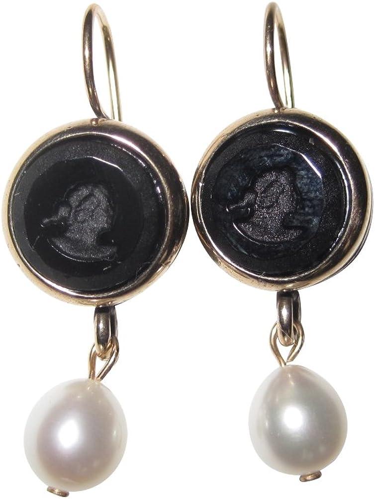 Pendientes de piedras negras de cristal oscuro con perla de agua dulce colgante, de bronce, hechos a mano, de diseñador EXTASIA