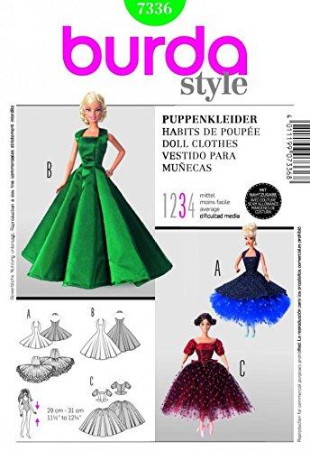 Burda Craft Sewing Pattern 7336 Barbie Doll Style Doll Clothes Ballroom (Barbie Clothes Sewing Patterns)