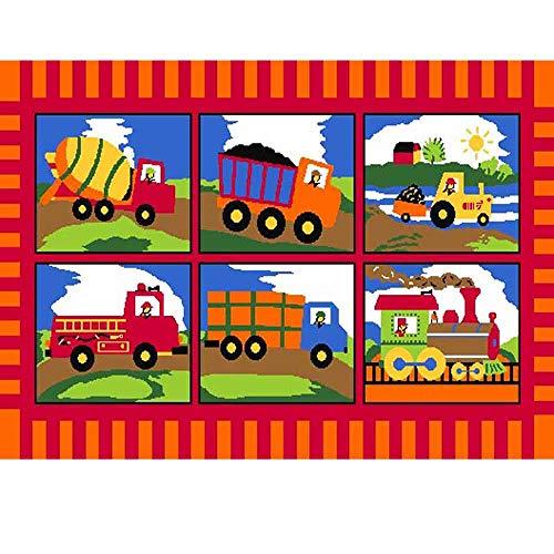 Mybecca Kids Rugs Learning Recreational Playtime Classroom Rug (5' x 7', Truck Zone)