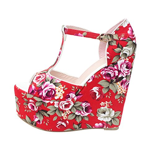 fereshte Ladies Girls Women's Fashion Printing Chinoiserie Peep Toe Platform Wedges Sandal Red lemq3