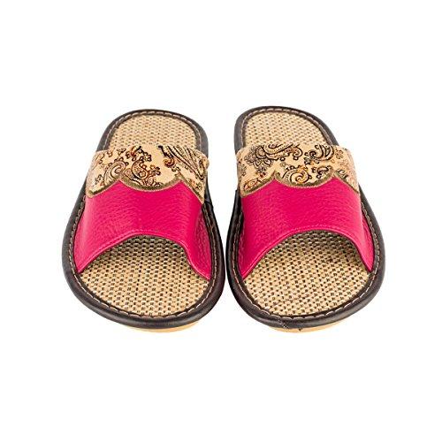 Haisum Tb003-w - Zapatillas de estar por casa de Piel Sintética para mujer rosa roja